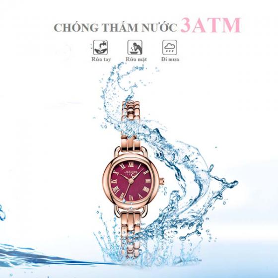 Đồng hồ nữ dây kim loại chính hãng Julius Hàn Quốc JA-1150E đồng mặt tím
