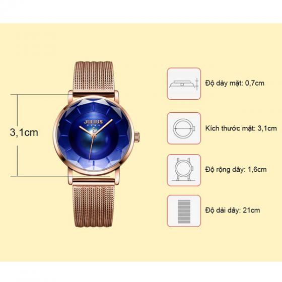 Đồng hồ nữ dây thép chính hãng Julius Hàn Quốc JA-1129C đồng xanh