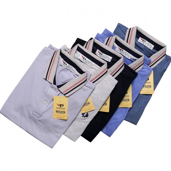 Áo thun nam Polo cổ dệt chuẩn logo bông lúa chuẩn men pigofashion cao cấp AHT12 xanh dương
