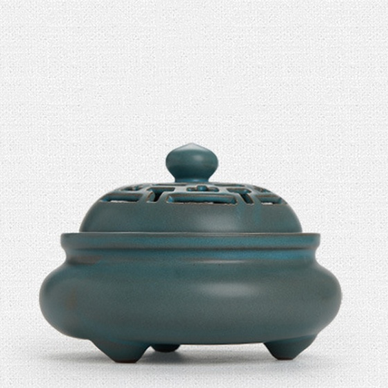 Lò gốm xông trầm cao cấp màu xanh rêu 6903 - tặng kèm 10 nụ trầm hương
