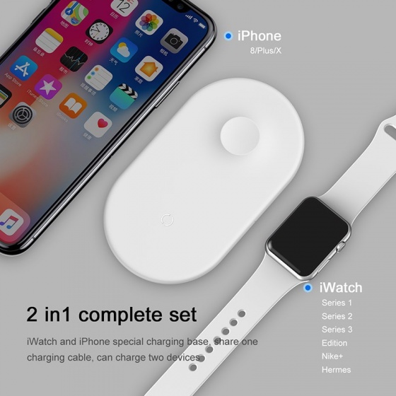 Đế sạc nhanh không dây 2 trong 1 Baseus Dual Smart Wireless Charging Pillow dùng cho Smartphone và Apple Watch (10W)
