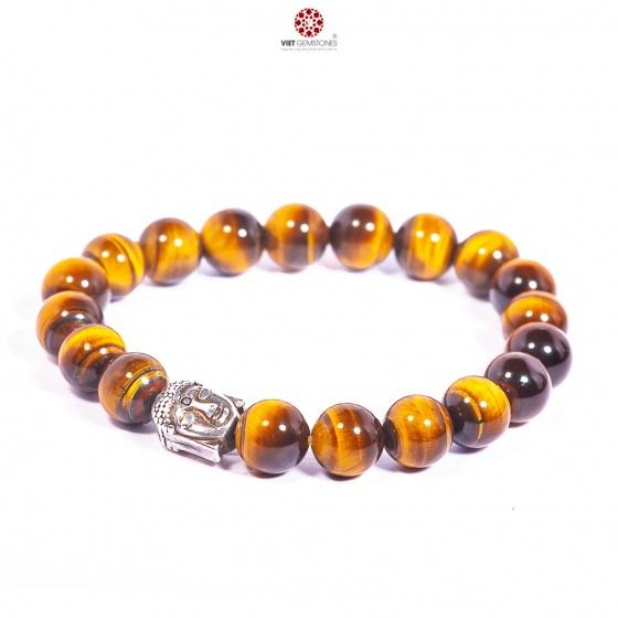 Vòng tay đá mắt hổ vàng mix charm bạc Thái Lục Tự Đại Minh Chú - BRTIGY10M03 - Vietgemstones