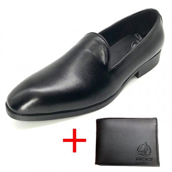 Combo giày lười công sở nam da bò cao cấp N0102M + 1 ví da