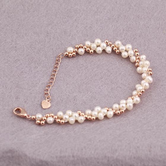 Opal - vòng tay hợp kim kết hợp ngọc trai màu trắng _T7