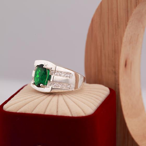 Opal - nhẫn bạc nam đính đá Ross xanh lá_T7