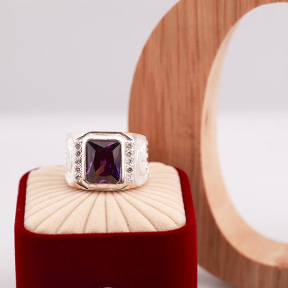 Opal - nhẫn bạc nam đính đá Ross tím _ T7