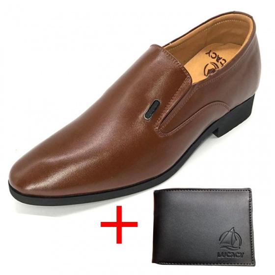 Combo giày lười công sở nam tăng chiều cao 6cm da bò cao cấp N2101MN + 1 ví da Lucacy