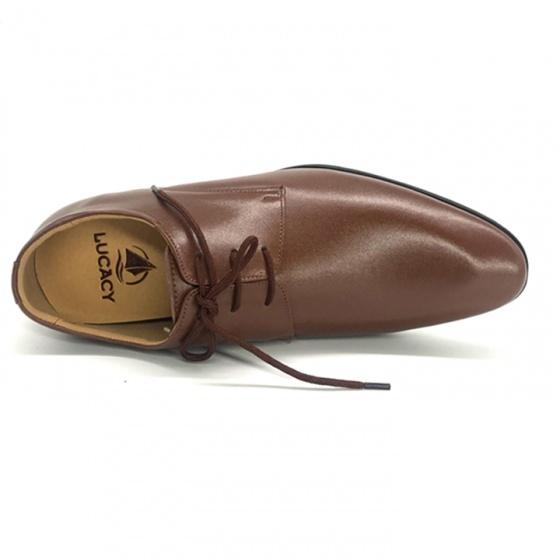 Combo giày công sở nam buộc dây tăng chiều cao 6cm da bò cao cấp N2101BN + 1 ví da Lucacy
