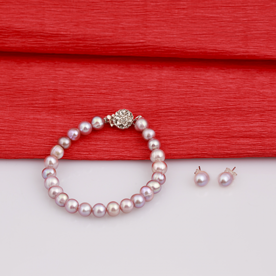 Opal - bộ chuỗi vòng tay và hoa tai ngọc trai tím T7