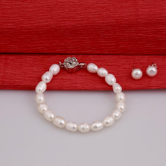 Opal - bộ vòng tay và hoa tai ngọc trai trắng_T7