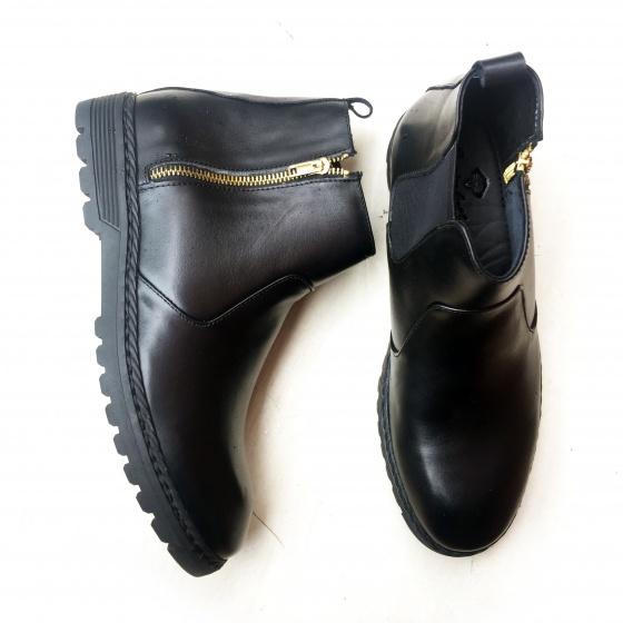 Giày chelsea boots nam kéo khóa da bò thật Geleli