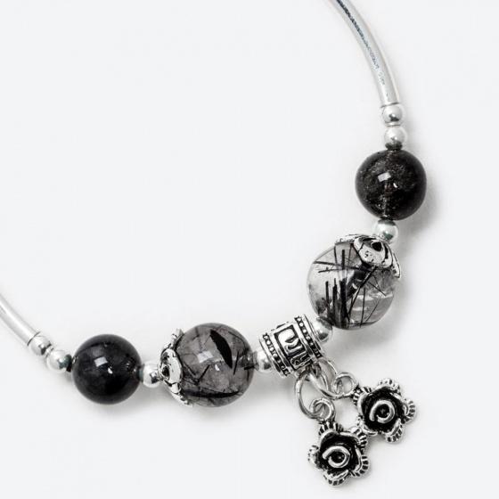 Vòng tay phong thủy nữ đá thạch anh tóc đen mix charm hoa 10mm mệnh thủy , mộc - Ngọc Quý Gemstones