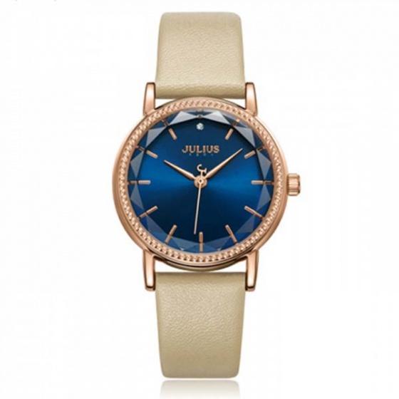 Đồng hồ nữ julius dây da ja-1012d-1 kem mặt xanh