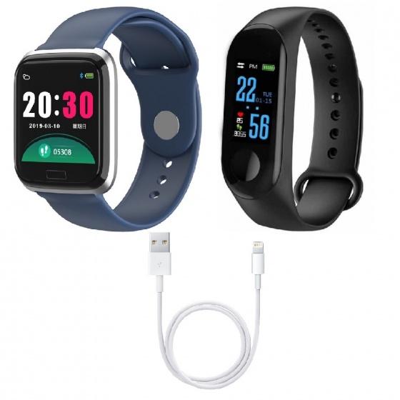 (Combo quà tặng công nghệ) 1 vòng đeo tay thông minh M3 (đen) + 1 vòng tay thông minh JVJ CY05 ( xanh đen) tặng kèm 1 cáp sạc foxconn chính hãng