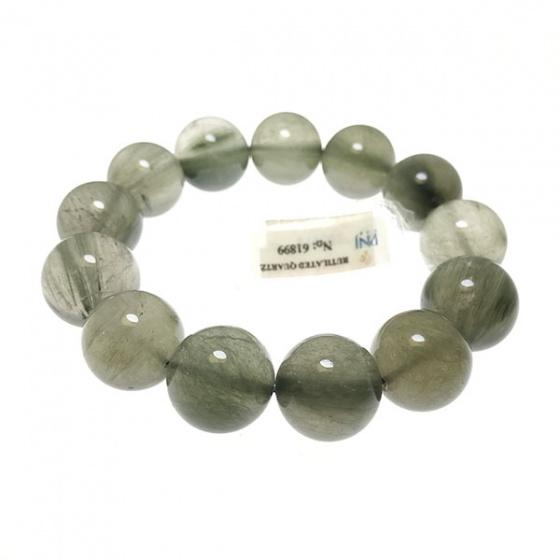 Vòng chuỗi tay phong thủy đá may mắn thạch anh tóc xanh tự nhiên 18 li V19G02