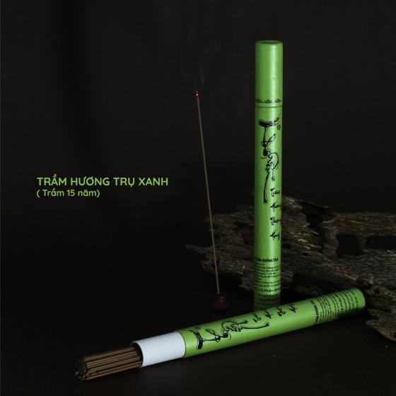 Nhang trầm hương không tăm nhang thiền 20g - 95 cây (ống trụ xanh)