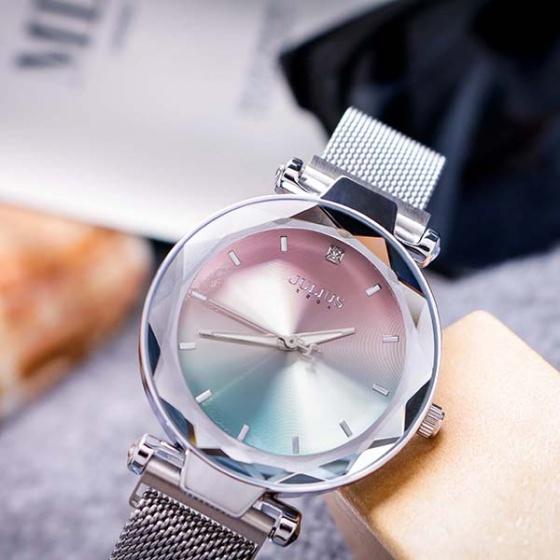Đồng hồ nữ JA-1166A Julius Hàn Quốc dây nam châm (bạc)