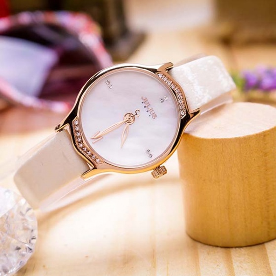 Đồng hồ nữ JA-1155A Julius Hàn Quốc dây da (trắng)
