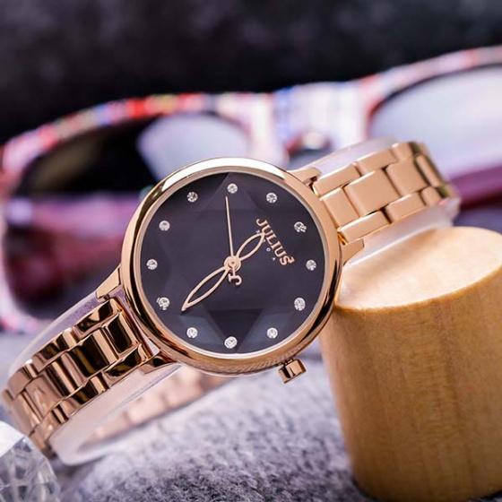 Đồng hồ nữ JA-1152D Julius Hàn Quốc dây thép (đen)