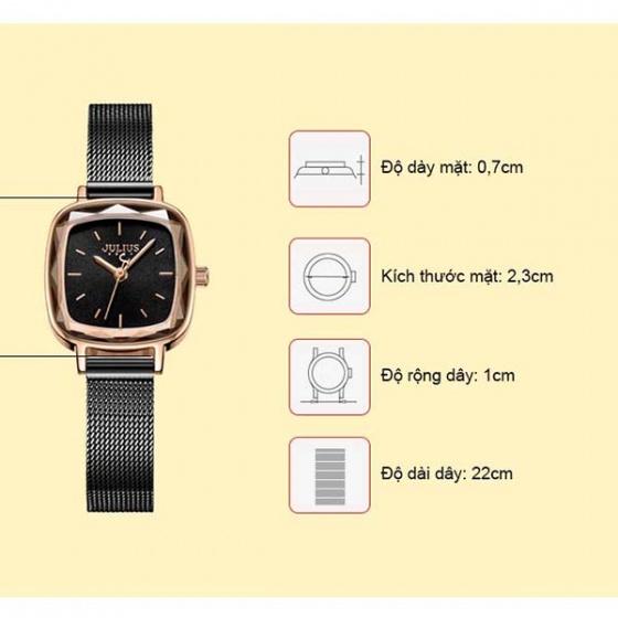Đồng hồ nữ JA-1148E Julius Hàn Quốc dây thép (đen)