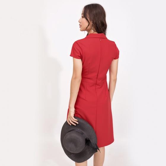 Đầm công sở thời trang Eden màu đỏ đô - D370