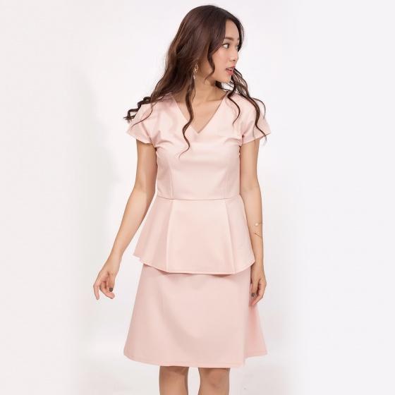 Đầm peplum công sở thời trang eden cổ tim màu hồng nhạt - D371
