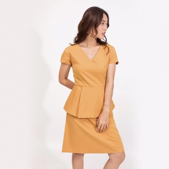 Đầm peplum công sở thời trang eden cổ tim màu vàng - D371