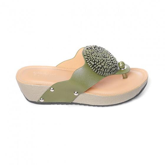 Dép da xỏ ngón êm chân Sunday DD26 màu xanh rêu