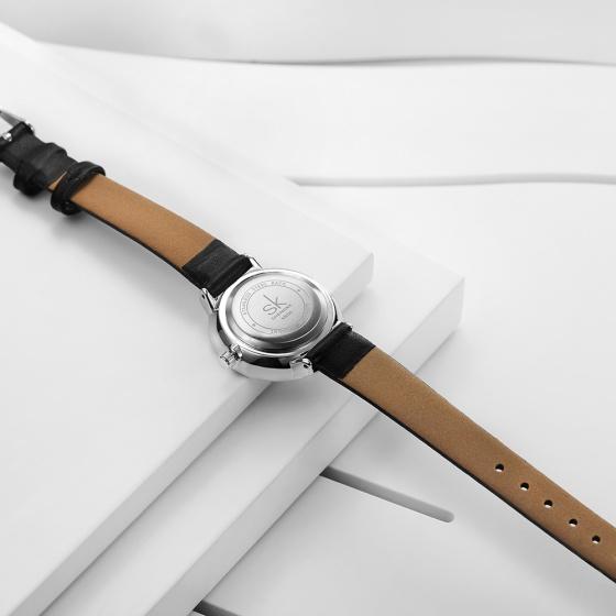 Đồng hồ nữ chính hãng Shengke Korea K8035L-02 đen mặt đen
