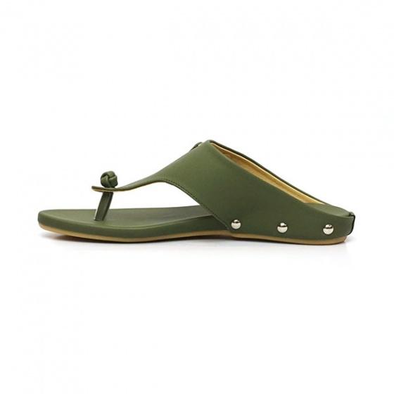 Dép da xỏ ngón êm chân Sunday DD28 màu xanh rêu