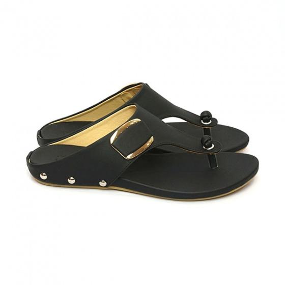 Dép da xỏ ngón êm chân Sunday DD28 màu đen