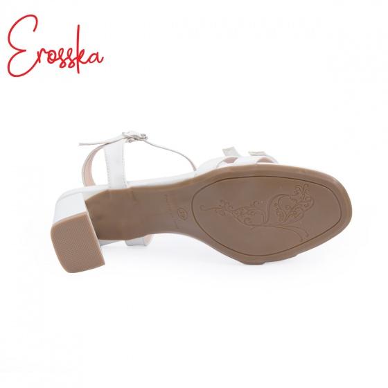 Giày nữ, giày gao gót block heels đế vuông Erosska cao 7cm dây mảnh ET001 màu nude