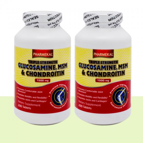 Combo 2 chai viên uống phòng ngừa thoái hóa khớp Triple Strength Glucosamine Pharmekal - 200 viên