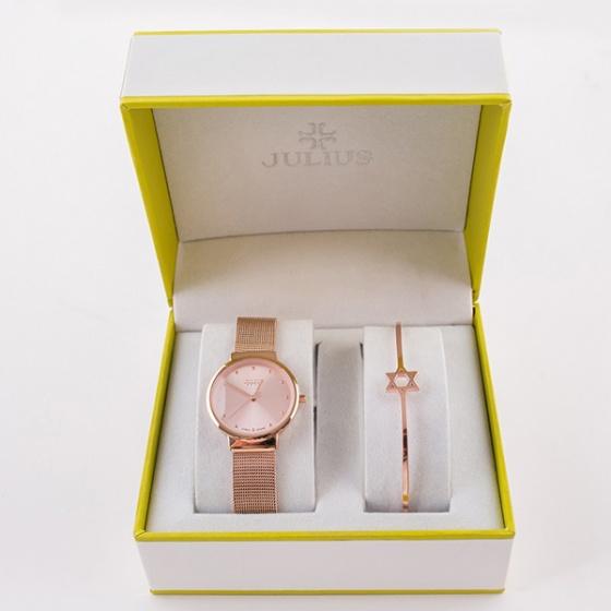 Đồng hồ nữ JA-426LF JU1052a Julius Hàn Quốc dây thép (vàng hồng)