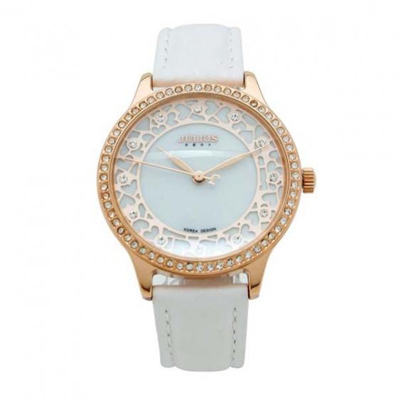 Đồng hồ nữ hoa văn đính đá julius ja-852c ju1091 trắng