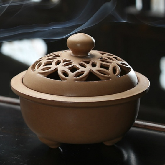 Lò gốm xông trầm cao cấp màu cà phê 6905 - tặng kèm 10 nụ trầm hương