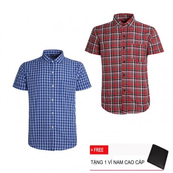 Combo 2 áo sơ mi nam sọc caro Model Fashion cao cấp MSMI3123 (tặng kèm ví nam)
