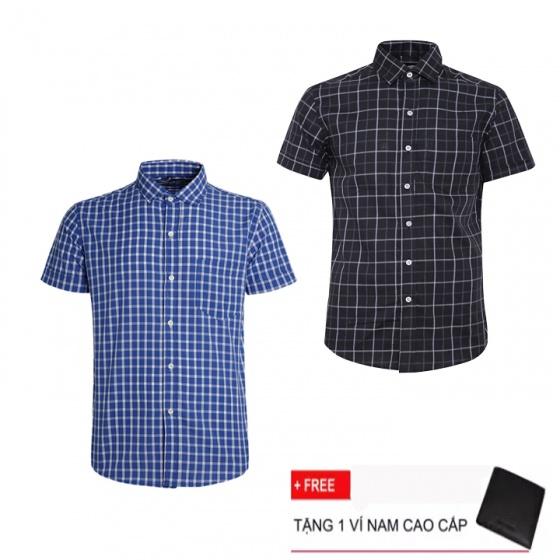 Combo 2 áo sơ mi nam sọc caro Model Fashion cao cấp MSMI3124 (tặng kèm ví nam)