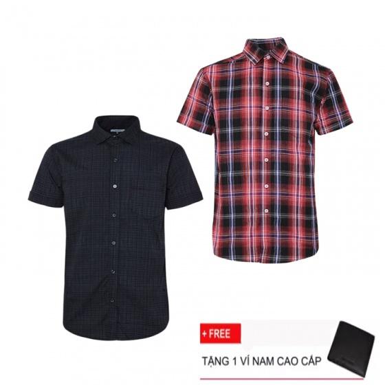 Combo 2 áo sơ mi nam sọc caro Model Fashion cao cấp MSMI3117 (tặng kèm ví nam)