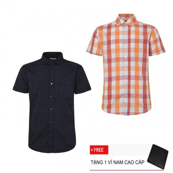 Combo 2 áo sơ mi nam sọc caro Model Fashion cao cấp MSMI3121 (tặng kèm ví nam)