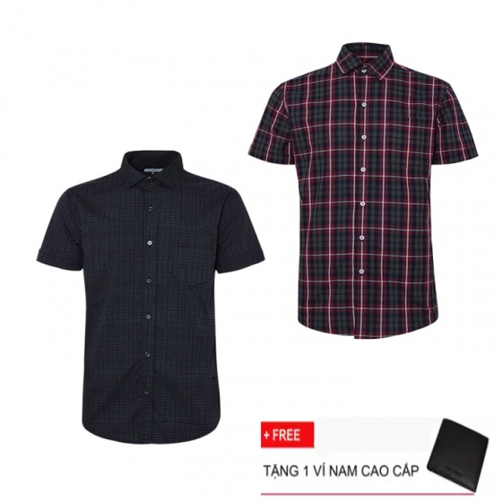 Combo 2 áo sơ mi nam sọc caro Model Fashion cao cấp MSMI3112 (tặng kèm ví nam)
