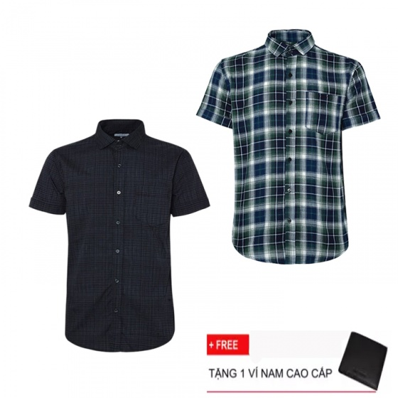 Combo 2 áo sơ mi nam sọc caro Model Fashion cao cấp MSMI3114 (Tặng kèm ví nam)