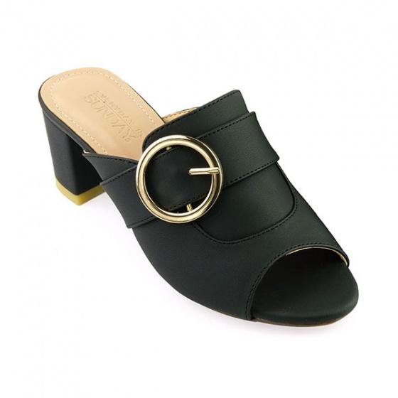 Guốc da thời trang êm chân Sunday GG09 màu đen