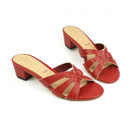 Guốc da thời trang êm chân Sunday GG12 màu đỏ