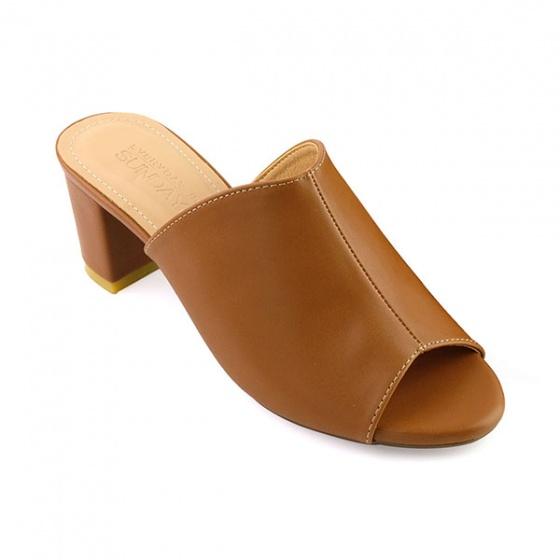 Guốc da thời trang êm chân Sunday GG04 màu nâu