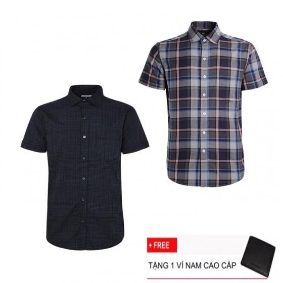 Combo 2 áo sơ mi nam sọc caro Model Fashion cao cấp MSMI3106 (Tặng kèm ví nam)