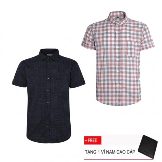 Combo 2 áo sơ mi nam sọc caro Model Fashion cao cấp MSMI3107 (Tặng kèm ví nam)