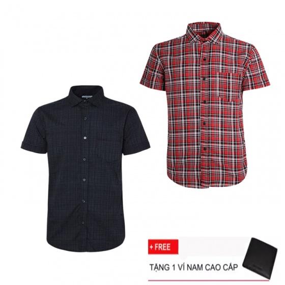 Combo 2 áo sơ mi nam sọc caro Model Fashion cao cấp MSMI3108 (Tặng kèm ví nam)