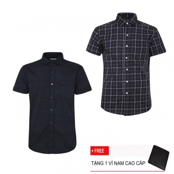 Combo 2 áo sơ mi nam sọc caro Model Fashion cao cấp MSMI3109 (Tặng kèm ví nam)