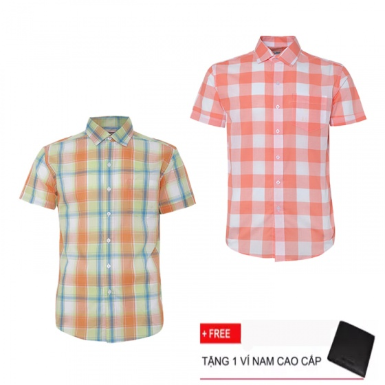 Combo 2 áo sơ mi nam sọc caro Model Fashion cao cấp MSMI3104 (Tặng kèm ví nam)